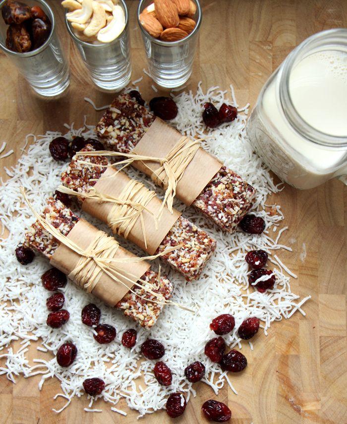Cranberry Coconut Raw Bars (vegan + gluten free)