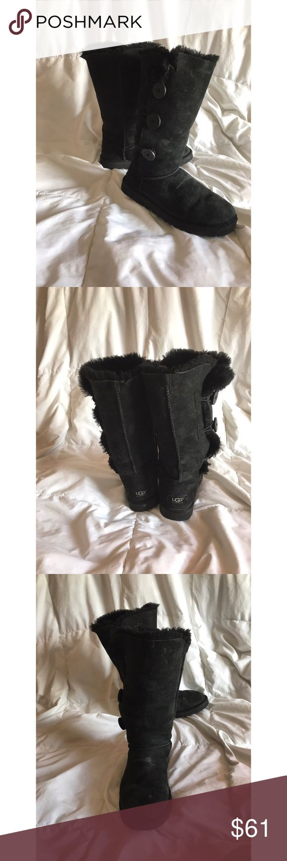 🖤Tall black UGG BOOTS🖤 Authentic black UGG boots size 7. It has a few stains and a mini rip but other than that it looks great UGG Shoes Winter & Rain Boots