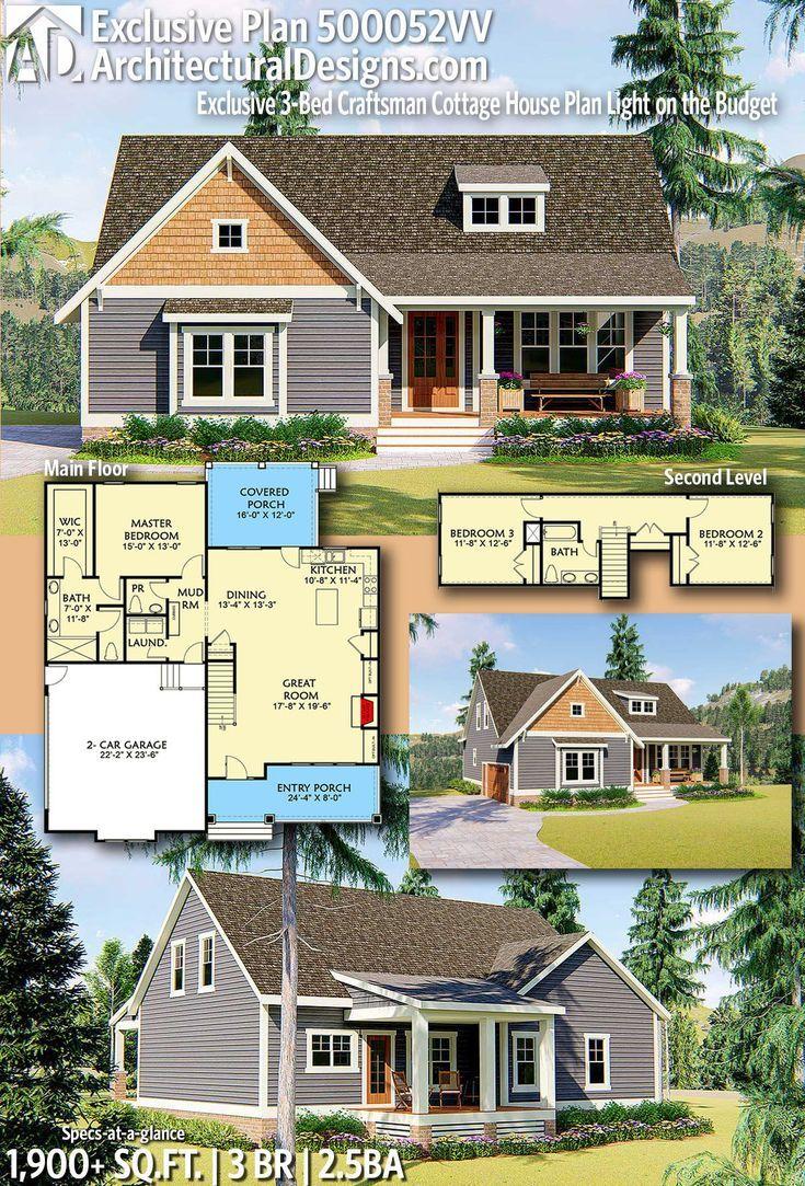 Plan 500052vv Exclusive 3 Bed Craftsman Cottage House Plan Light On The Budget Cottage House Plans House Plans Craftsman House Plans