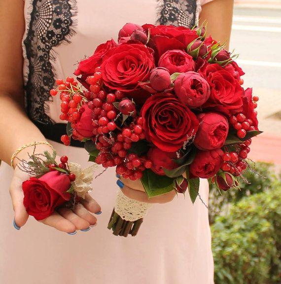 Buchet de Mireasa. Trandafiri grena. Mini by JuliasRoseShop