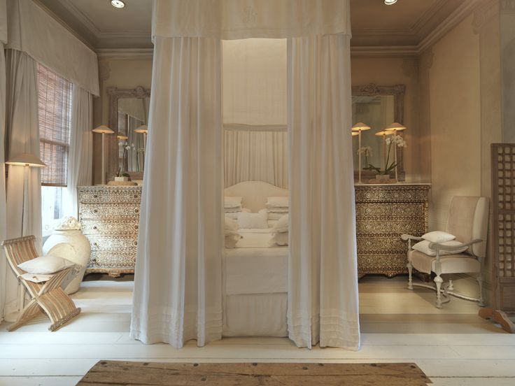 Gorgeous!! Maybe not the bed draped like that, but dressers and mirrors and serene color scheme are gorgeous!!