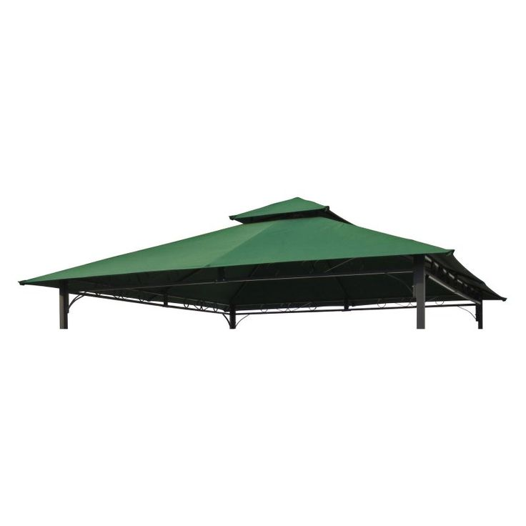 International Caravan Mesa 10 ft. 2-Tiered Vented Outdoor Gazebo Canopy Replacement Top Forest Green - YF-3136B-CNP-FG