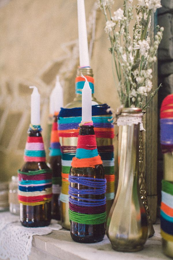Yarn-wrapped bottles at the reception.