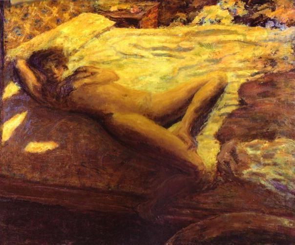 """""""Femme assoupie sur un lit."""" pierre bonnard le desir est interiorisé dans l'image du souvenir, transposé ds un espace tissé d'affects"""