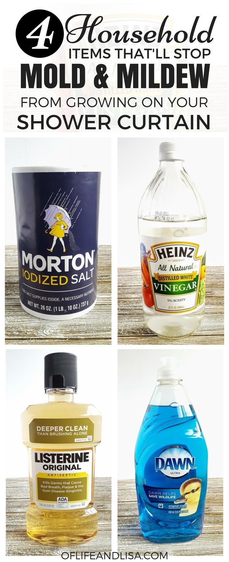 Save time cleaning your shower by simply using these common household items to prevent mold and mildew on your shower liners. #home #cleaning #diy #homemaker #sahm