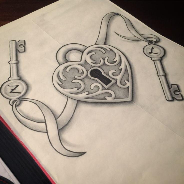 Heart lock tattoo design