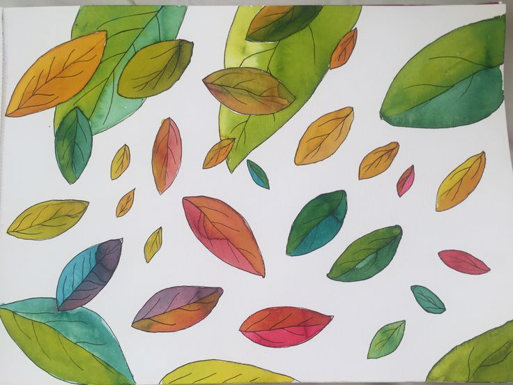 Leaves with #aquarela #painting #ecoline #leaves #autumn