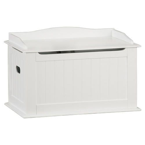 "Solutions by Kids R Us Wood Toy Box - White - Solutions by Kids 'R' Us - Toys ""R"" Us...will deinitely be getting this and have my sister paint cute little characters on it!"
