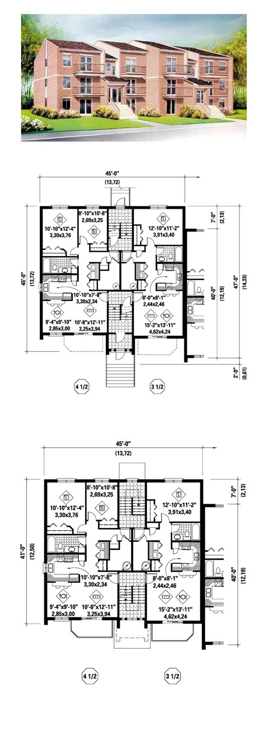 28 best duplex multiplex plans images on pinterest for Multi family apartment floor plans