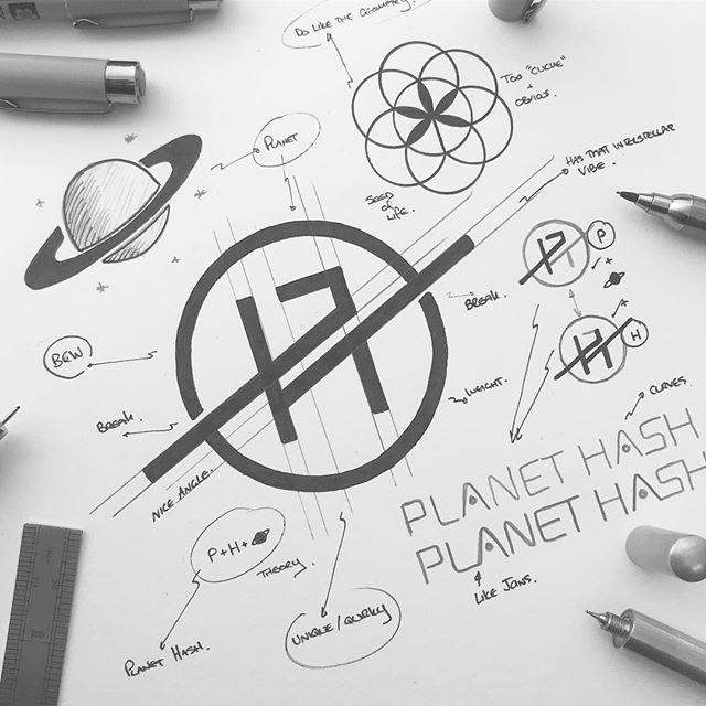 PLANET HASH . FINAL CONCEPT SKETCH . Planet Hash is an artisan connoisseur brand...