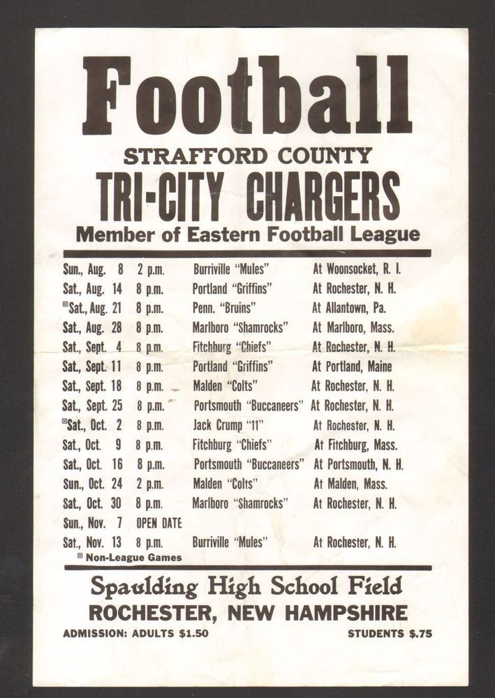 Undated Football Schedule Strafford County Tri City Chargers Rochester NH