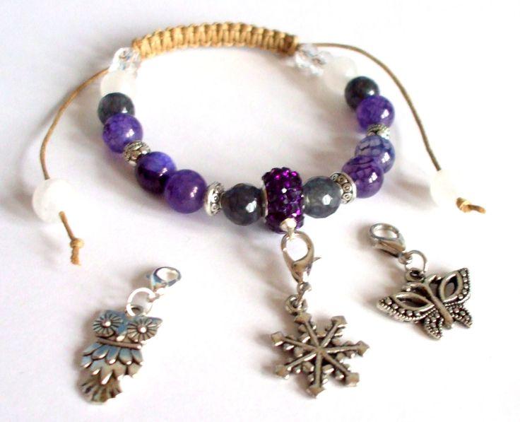 Purple agate, grey tourmalin and white quartz shamballa bracelet Sliding knot bracelet Gemstone jewelery Gift for her Snowflake charm jewel by dorijewelnook on Etsy