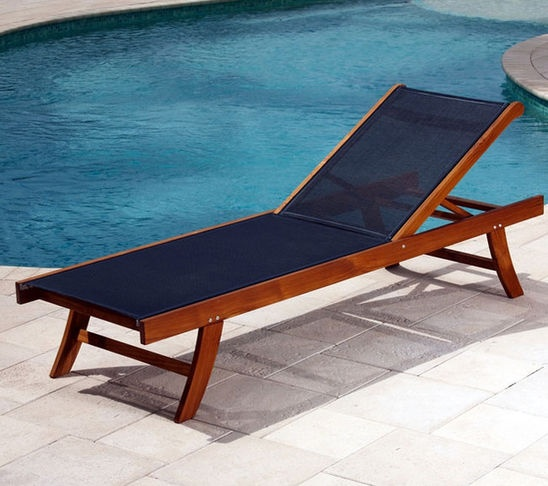 Teak Sun Lounger With Mesh Fabric