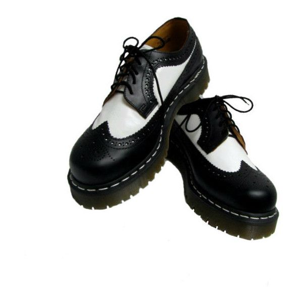 Vintage Dr Martens Shoes Mens Black and White Leather Doc Martens DM... ($85) ❤ liked on Polyvore featuring men's fashion, men's shoes and shoes