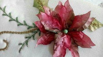 como hacer flores de nochebuena en liston bordado - YouTube