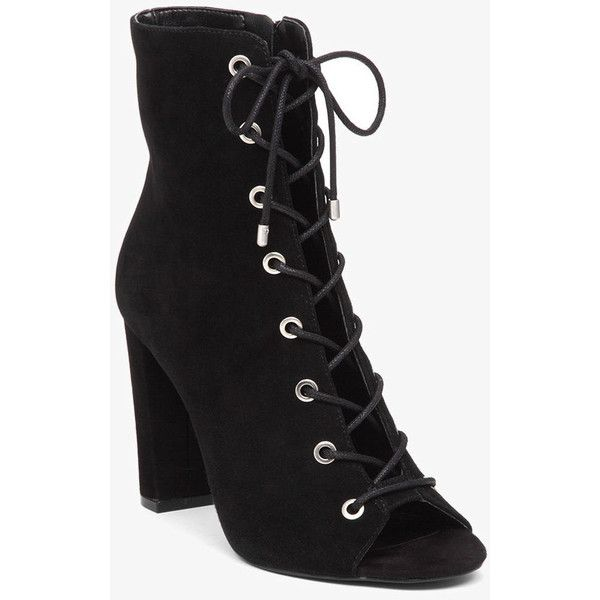 BCBGeneration Ripley Lace-Up Bootie ($129) ❤ liked on Polyvore featuring shoes, boots, ankle booties, black, lace up booties, black suede ankle booties, black laced booties, suede ankle boots and black suede booties