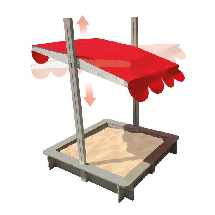 Ce bac à sable en bois se distingue par son système de toiture mobile et orientable qui protège le sable mais aussi les enfants qui peuvent jouer à l'abri de la pluie et du soleil. Le système de verrouillage du toit permet de l'orienter idéalement par rapport au soleil tout au long de la journée. Le toit peut se baisser et permet ainsi de protéger le bac à sable quand on ne s'en sert pas.