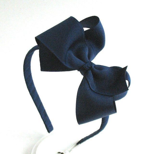 Navy Blue Bow Headband For Girls, Light Navy Bow Hard Headband, Back to School, School Uniform, Preppy Hair Bow, Big Girl Headband by PinkLemonadeDuxbury on Etsy https://www.etsy.com/listing/198587496/navy-blue-bow-headband-for-girls-light