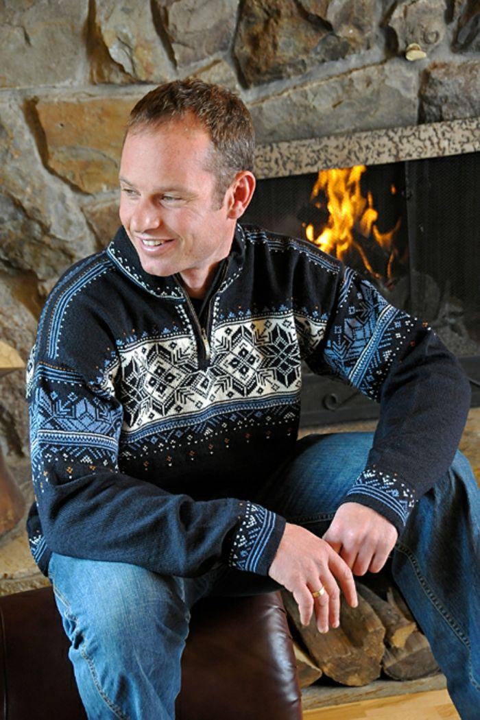 Norweger Pullover herren rustikal kamin