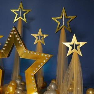 "Short Shining Star Stands Kit - $94.99 (what better addition to your theme than shining star stands. Kit includes four star stands: two 6' 1"" high x 23"" wide x 9"" deep stands and two 7' 3"" high x 23"" wide x 9"" deep stands. Stands feature gold stars and your choice of tulle color. Assembly: 2 people, 2 hours. See ""Shining Stars"" Complete Theme for additional decorations.)"