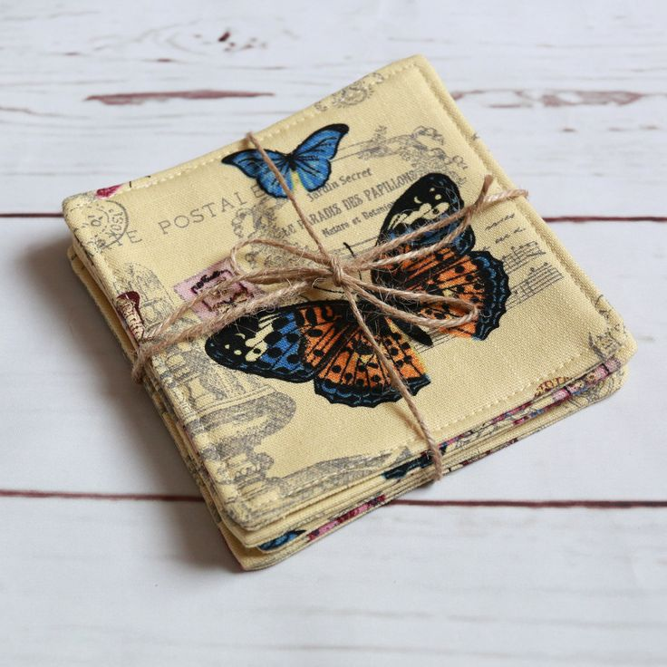 Excited to share the latest addition to my #etsy shop: butterfly fabric cup coasters set of 4, yellow brown cup mats, french post card cup coasters, drink mats, mug mats set of 4, table decor