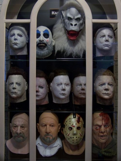 I do this with my china hutch and scary Halloween masks every year.