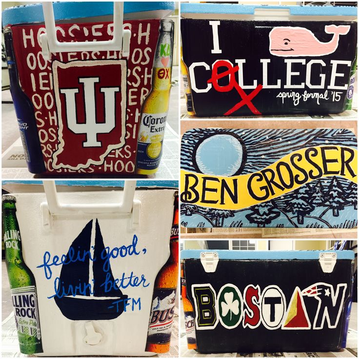 Fraternity Formal Cooler! Indiana Hoosiers (IU), I Vineyard Vines College (Theta Chi), Blue Moon label, Themes of Boston, and TFM.
