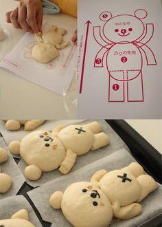 独自の型紙を作るなどの工夫 bear bread