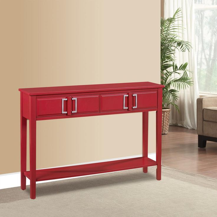 2-Drawer Red Console Table