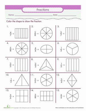 Second Grade Fractions Worksheets: Color the Fraction Worksheet