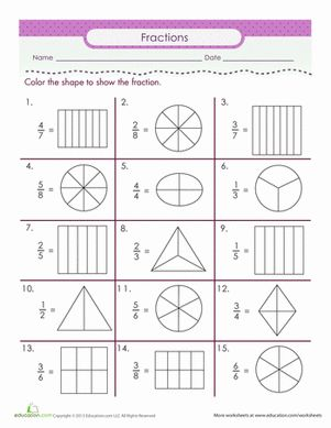 Second Grade Fractions Worksheets: Color the Fraction Worksheet
