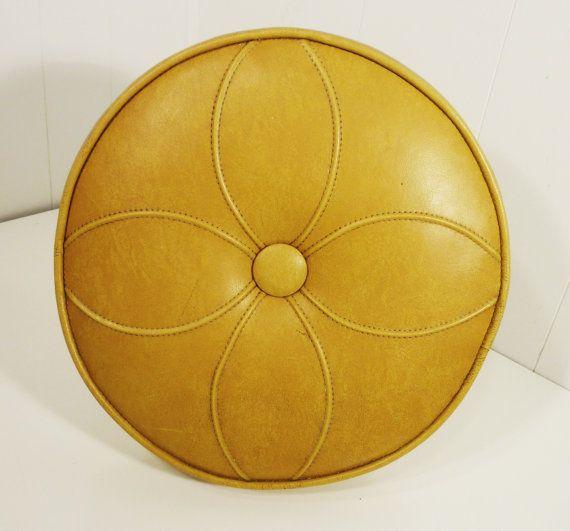 mid century golden variegated faux leather ottoman by gillardgurl, $28.00