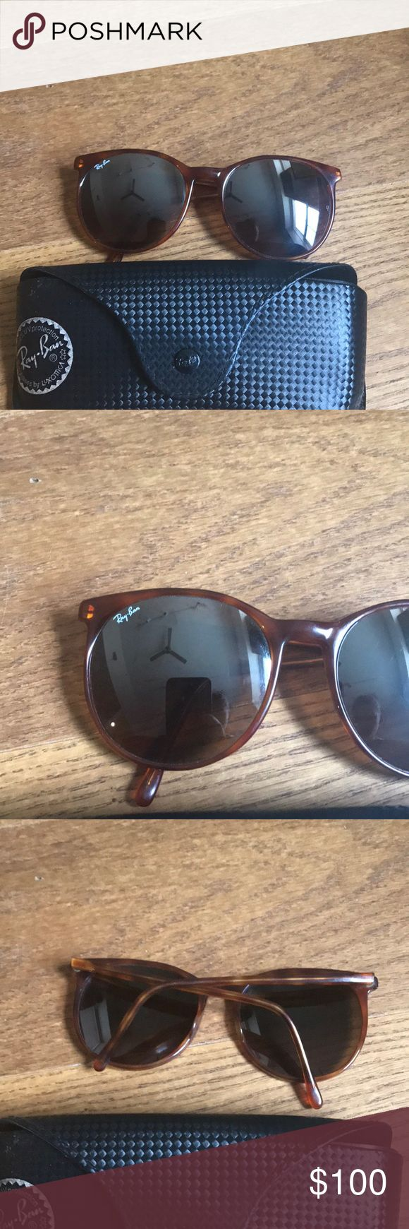 Bausch & Lomb ray bans Authentic vintage, rounded tortoise frames, mirrored lenses. SUPER RARE. Made in USA. Good very lightly used condition Ray-Ban Accessories Sunglasses