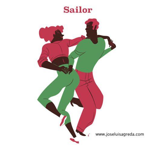 Some Lindy Hop moves. A collection of risograph postcards done for the Sevilla Swing Festival. Algunos pasos de Lindy Hop. Una colección de postales hechas para el Sevilla Swing Festival. Risografías realizadas por el taller El Último Mono de...