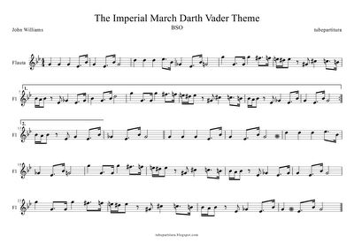 tubescore: Sheet Music for The Imperial March for Flute. Star Wars music scores by John Williams. The Imperial March Flute Music Score