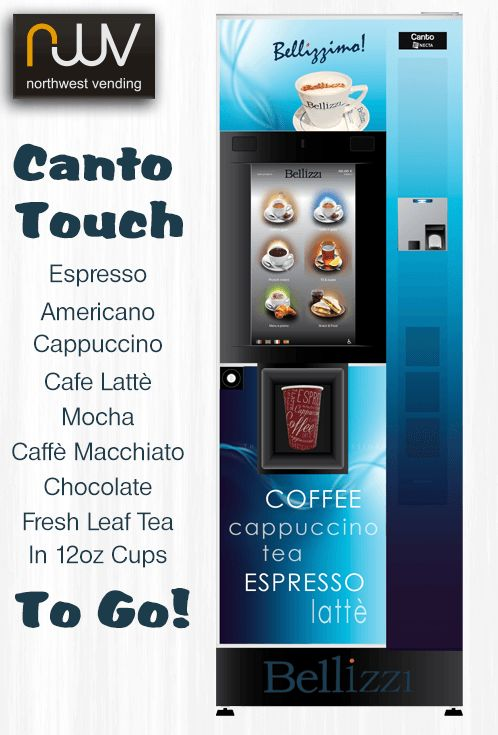 Bellizzi Canto Touch, fresh bean cappuccino, latte, mocha or fresh leaf tea, to just the way you like it, Bellizzimo!. #vending, #N&W, #cantotouch, #beantocup, #Espresso, #Bellizzi