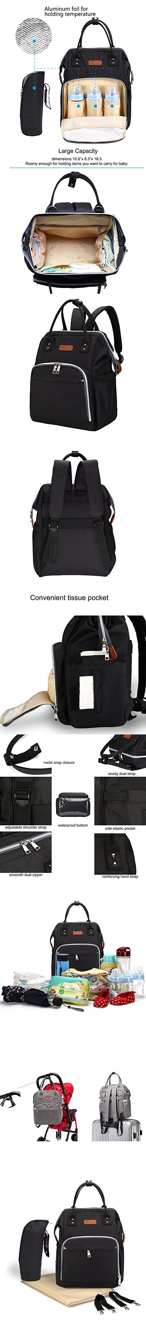 Diaper Bag Multi-Function Waterproof Travel Backpack Nappy Bags for Baby Care, Large Capacity with Baby Stroller Straps, Changing Pad & Insulated Pockets, Stylish and Durable for Mom/Dad (Black)