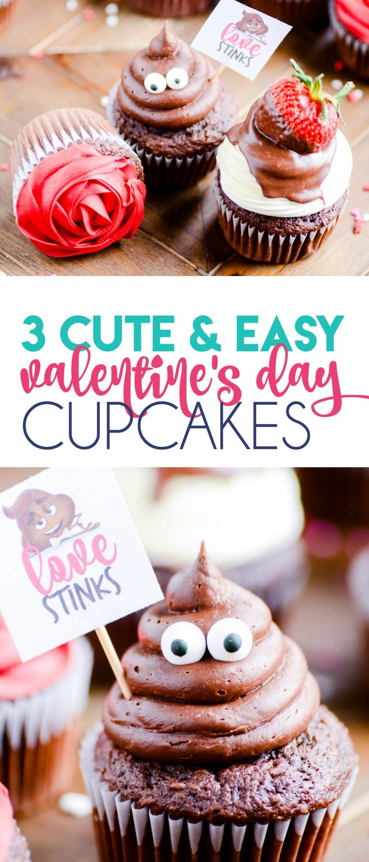 3 Cute Easy Valentine S Day Cupcakes Pinterest Easy Food And Cake