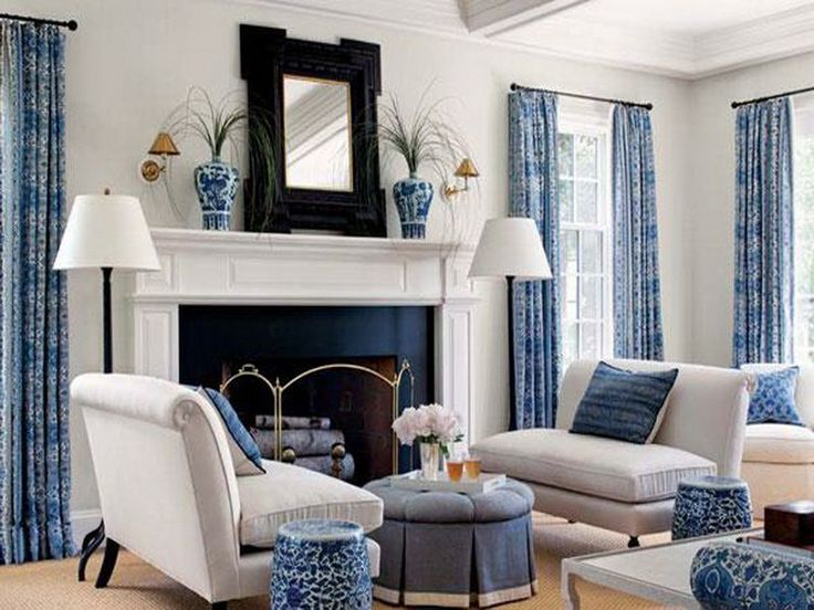 [Interior] : Lovely Living Room Design Ideas With White And Blue Color  Awith White Couch With Blue Cushion Also White Floor Lamp And Fireplace And  Vase Of ...