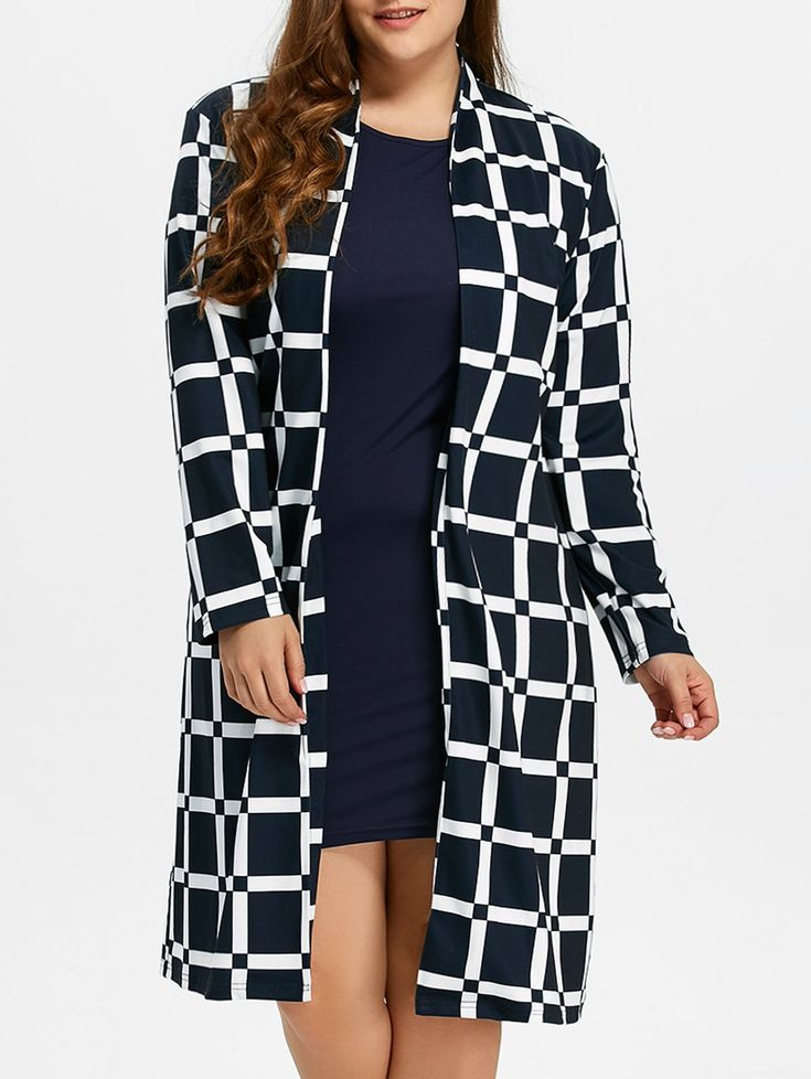 Grid Plus Size Coat in Checked | Sammydress.com