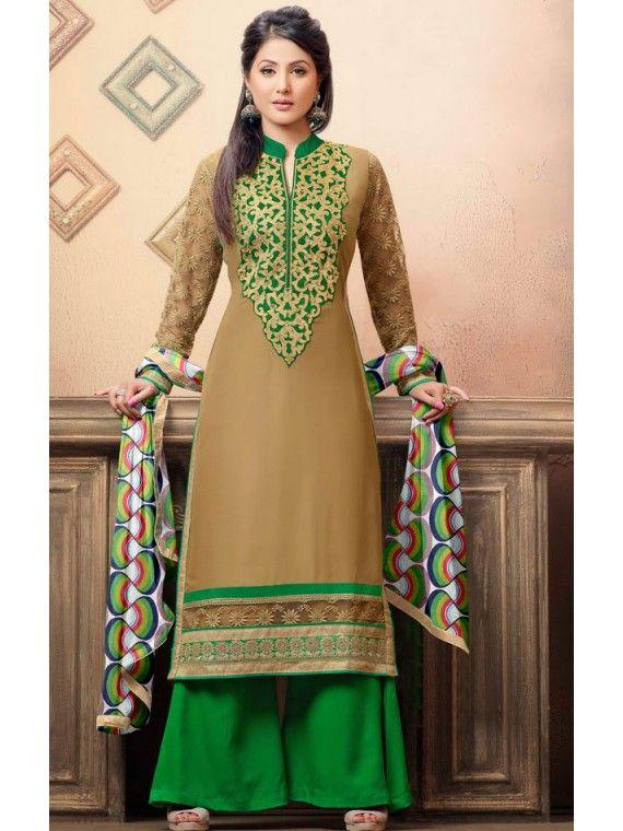 Dahing Cream and Green Heena Khan Palazo Kameez