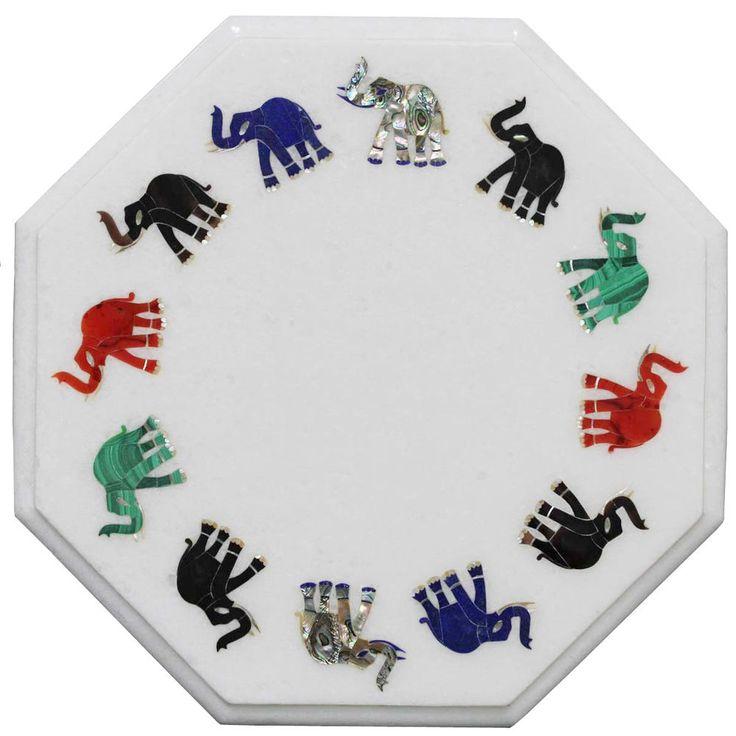 "12"" Marble Coffee Center Table Top Multi Mosaic Elephant Eid Special Decor H2344 #HariomHandicraftExport #ArtsCraftsMissionStyle #OctagonTableTop #MultiInlayStone #WhiteMarbleTable #ElephantArts #TableTop #CoffeeTable #FurnitureTable #CornerTable"