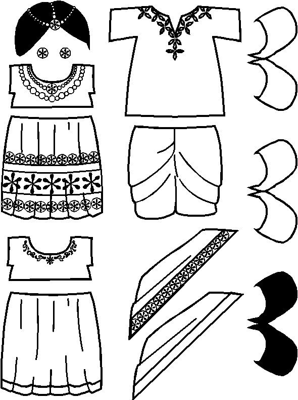 paper doll India Friends clothes