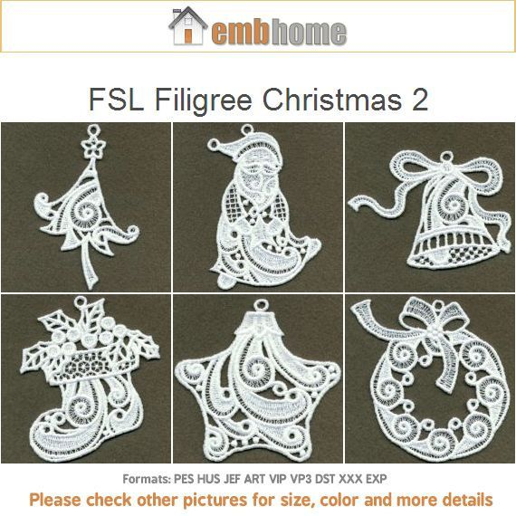 FSL Filigree Christmas 2 Holidays Free Standing Lace Machine Embroidery Designs Instant Download 4x4 hoop 11 designs APE2056