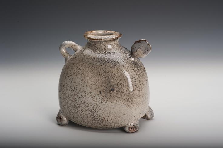 """""""Fatboy""""  recent work.  Stoneware vessel with shino glaze."""