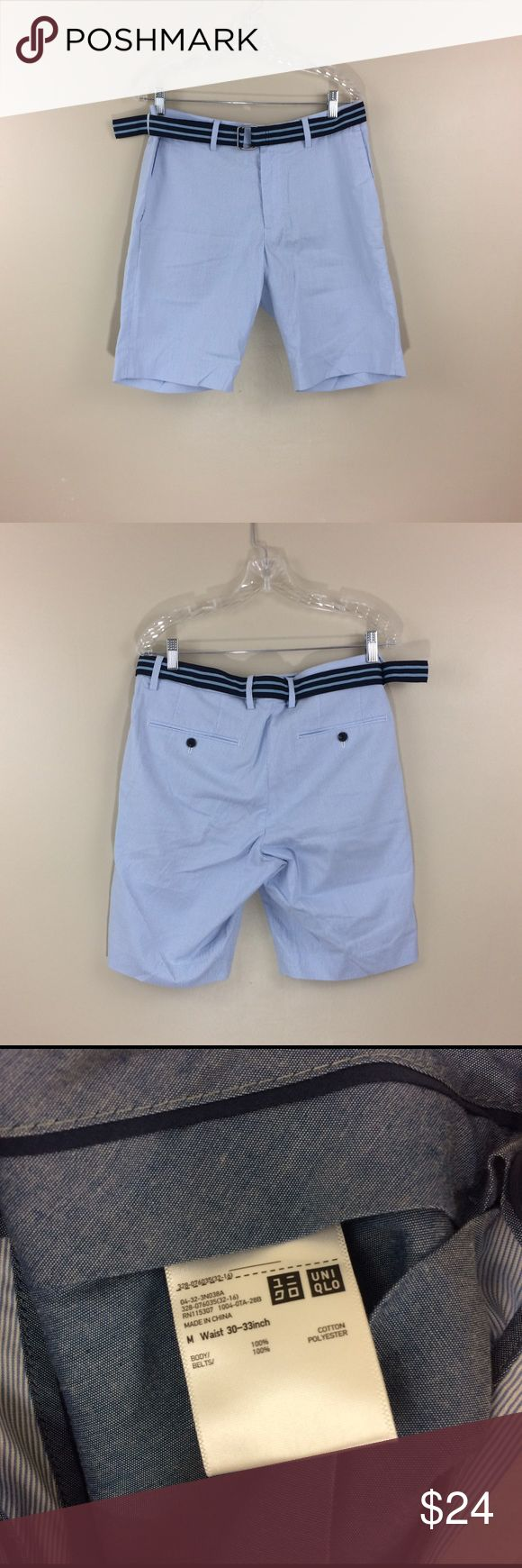 Uniqlo - Baby Blue - Shorts - W30-33 Like New - Washed and Wore Once. Belt included. Uniqlo Shorts Flat Front