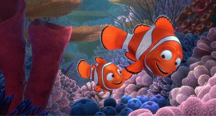 Buscando a Nemo. En un arrecife viven Marlin y Coral, peces payaso que  esperan el nacimiento de sus más de 400 huevos. Viven felices hasta que aparece una barracuda que amenaza con devorarlos, Coral intenta proteger los huevos pero Coral y sus hijos mueren en el ataque a excepción de uno de ellos, Nemo. Debido a que su huevo había sido herido en el ataque, Nemo se desarrolla con una limitación en su capacidad de nadar: Su aleta derecha es más pequeña y tiembla mucho.