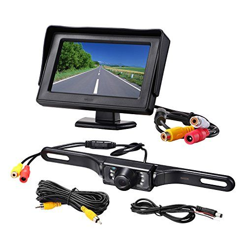 Backup Camera Monitor Kit for car, universal license plate reverse Waterproof Night Vision Rearview HD Reversing Camera+4.3 inch LCD rearview Monitor.