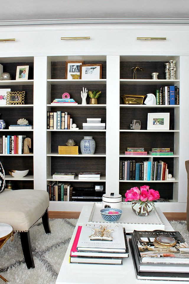 Grasscloth backed bookcases                                                                                                                                                     More