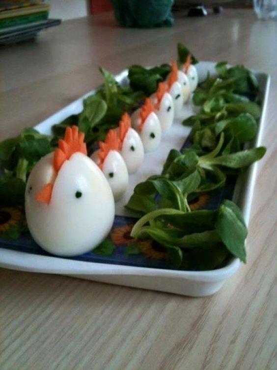Oeufs durs relookés façon poules, une idée sympa pour l'apéro au moment de Pâques